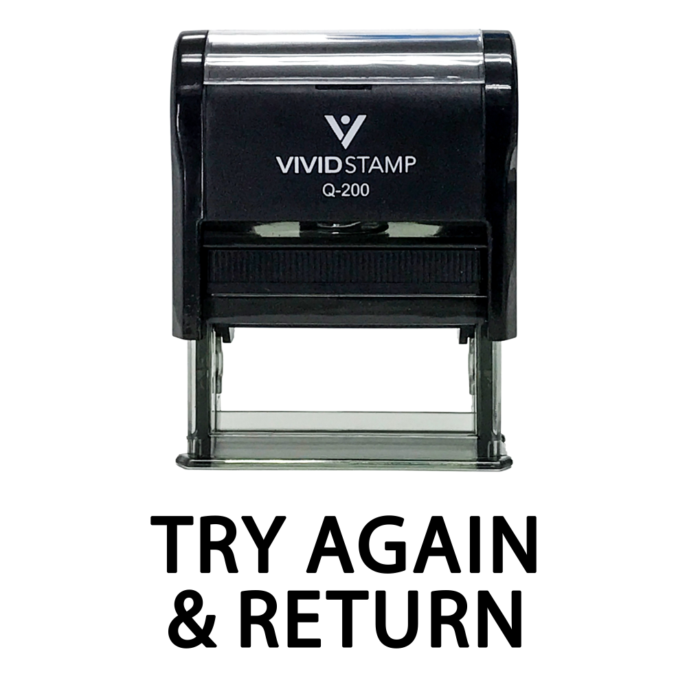 TRY AGAIN & RETURN Teacher Self Inking Rubber Stamp