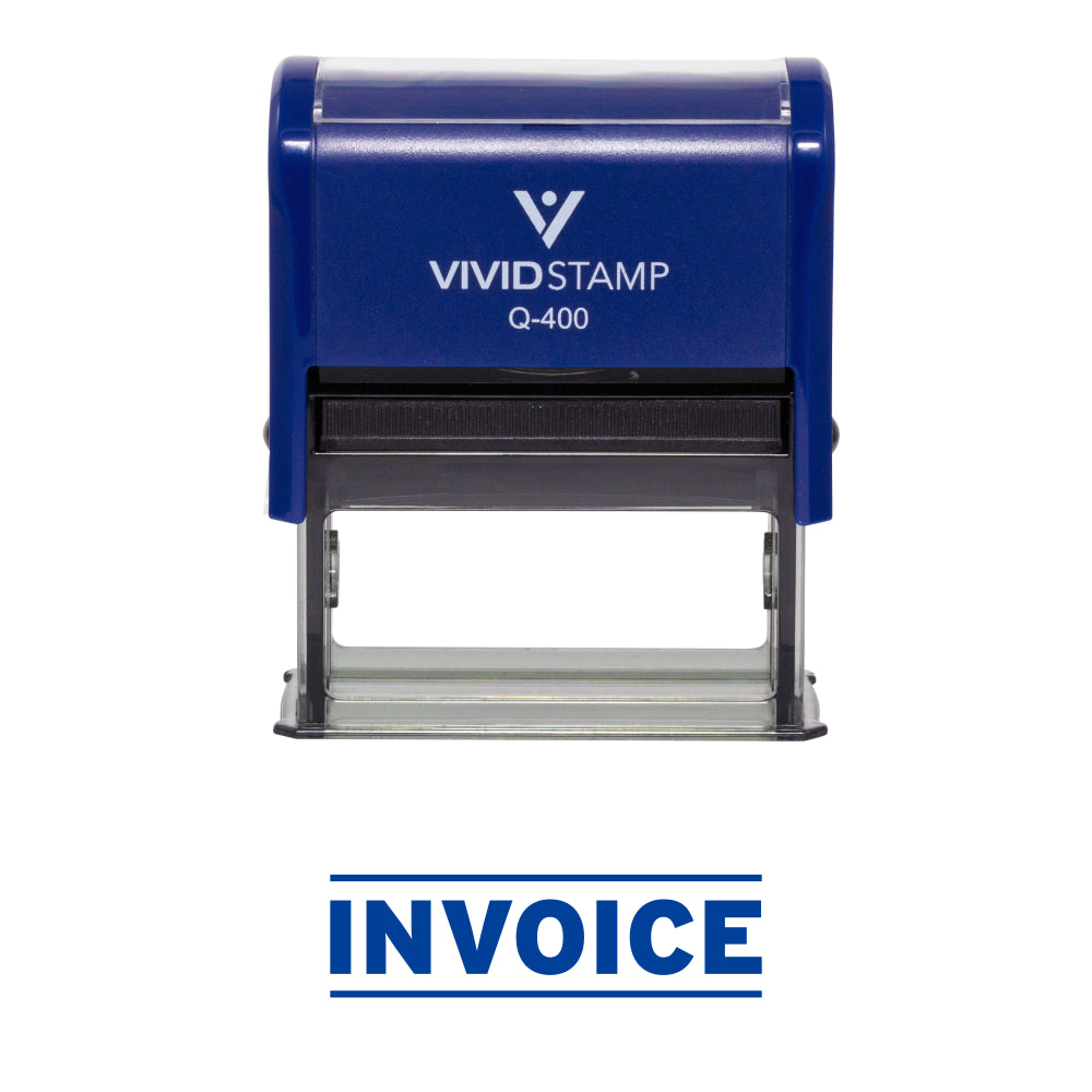 Blue INVOICE Self Inking Rubber Stamp