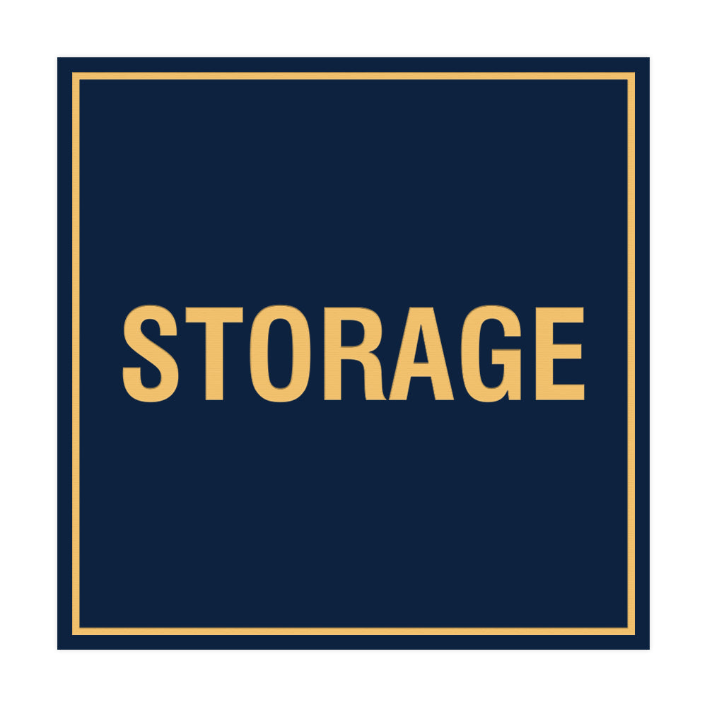 Navy Blue / Gold Signs ByLITA Square Storage Sign