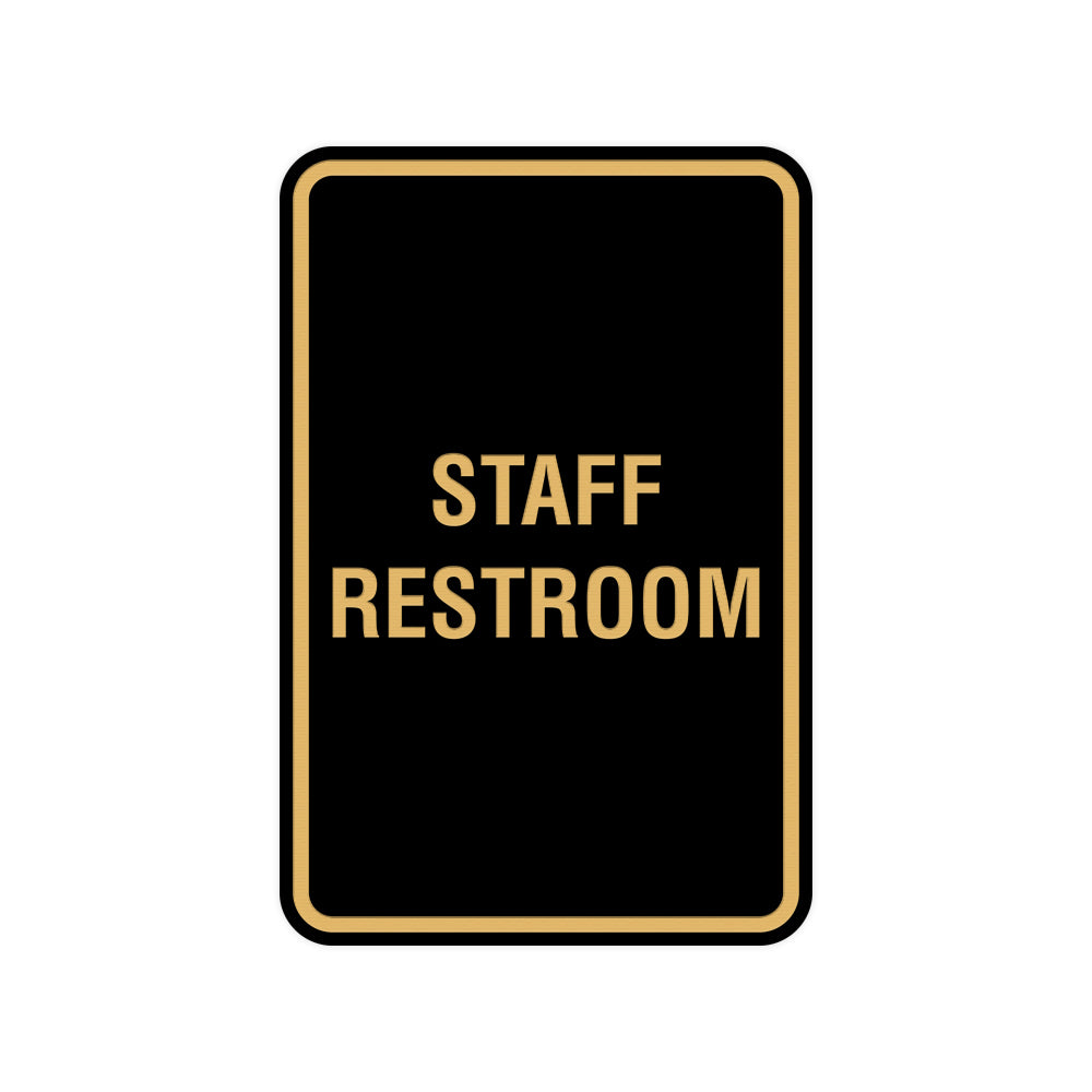 Portrait Round Staff Restroom Sign With Adhesive Tape