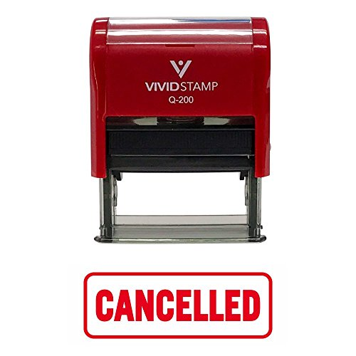 Red Cancelled W/Border Office Self-Inking Office Rubber Stamp