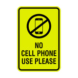 Signs ByLITA Portrait Round No Cell Phone Use Please Sign with Adhesive Tape, Mounts On Any Surface, Weather Resistant, Indoor/Outdoor Use