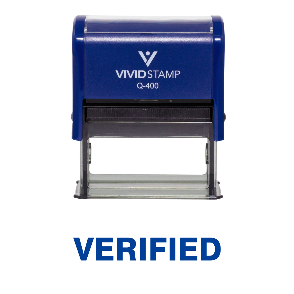 Blue Verified Self Inking Rubber Stamp