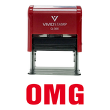 Red OMG Self Inking Rubber Stamp