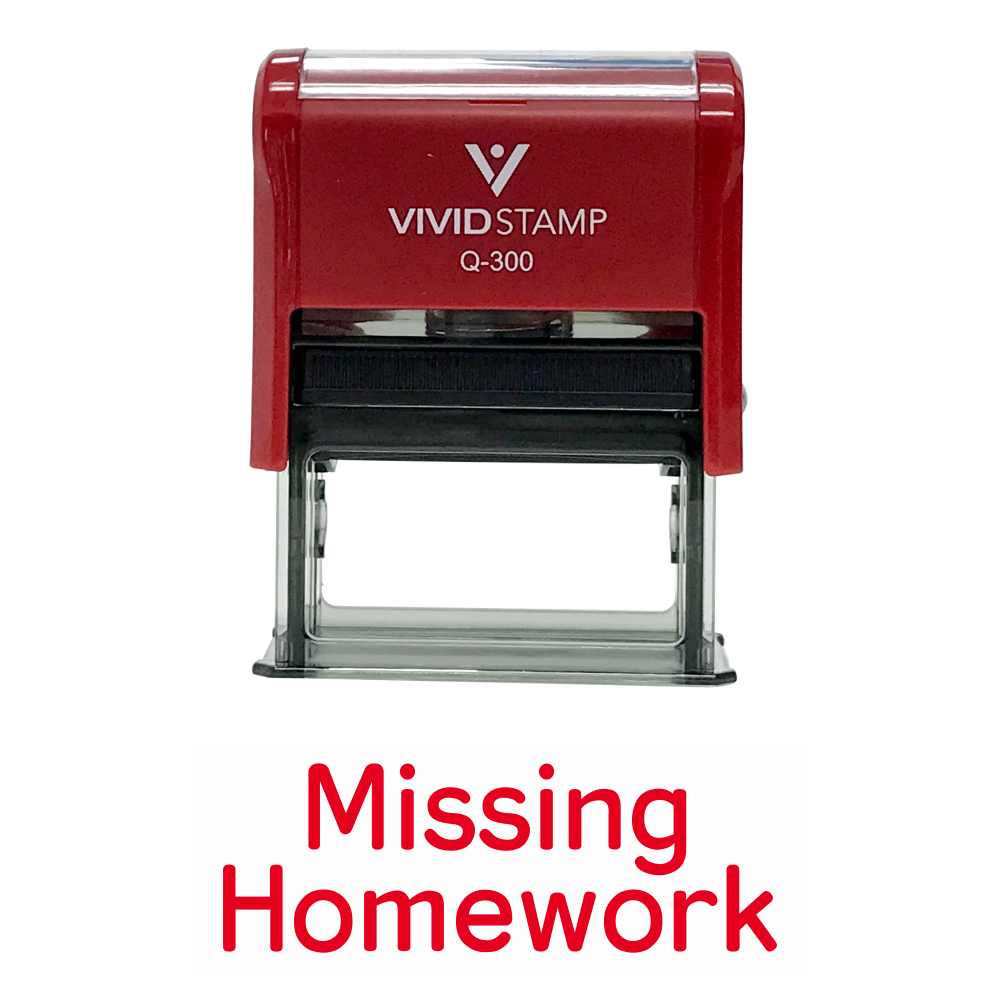 MISSING HOMEWORK Teacher Self Inking Rubber Stamp
