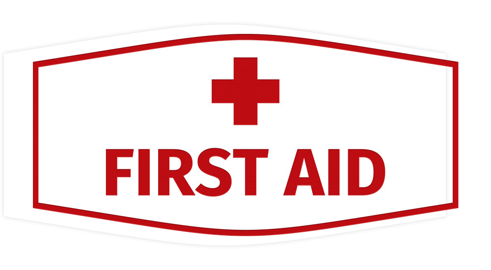 Signs ByLITA Fancy First Aid Sign with Adhesive Tape, Mounts On Any Surface, Weather Resistant, Indoor/Outdoor Use