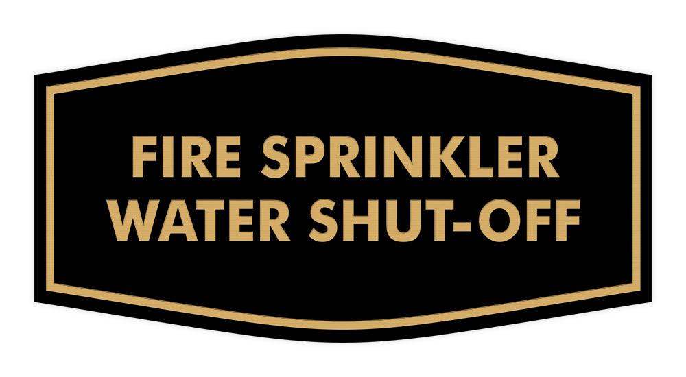 Signs ByLITA Fancy Fire Sprinkler Water Shut-Off Sign with Adhesive Tape, Mounts On Any Surface, Weather Resistant, Indoor/Outdoor Use