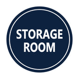 Navy Blue / White Signs ByLITA Circle Storage Room Sign