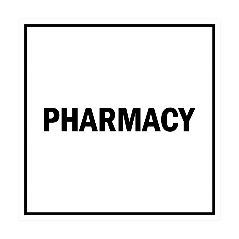 Square Pharmacy Sign with Adhesive Tape, Mounts On Any Surface, Weather Resistant