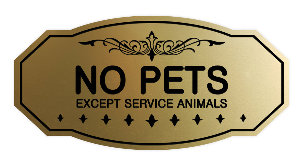 Victorian No Pets Except Service Animals Sign