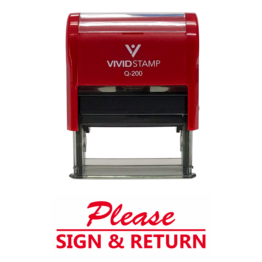 Please Sign And Return Self Inking Rubber Stamp