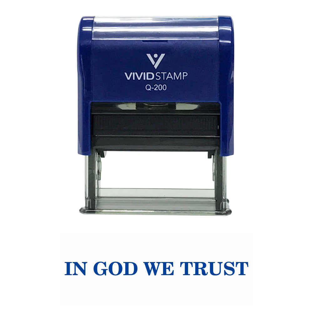 Blue In God We Trust Self Inking Rubber Stamp
