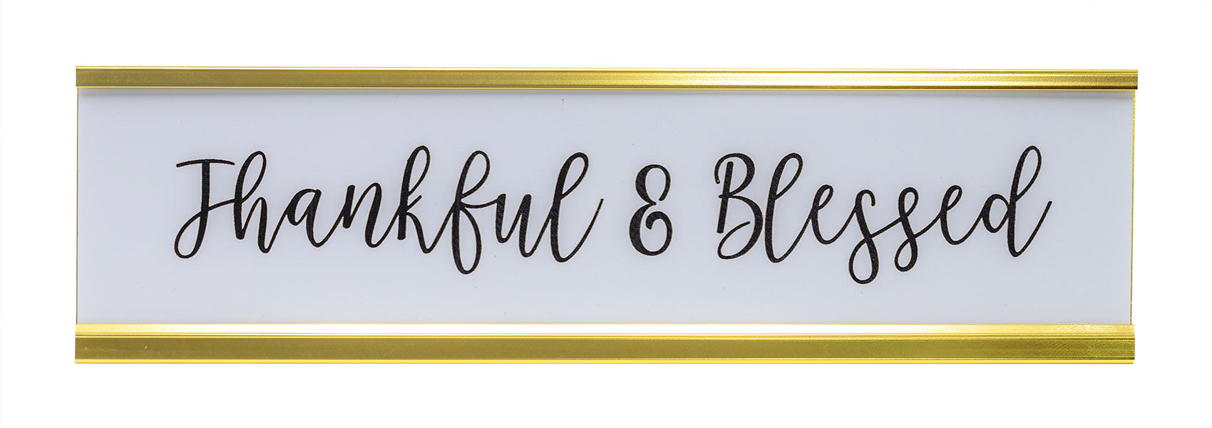 Signs ByLITA Thankful & Blessed Nameplate Desk Sign