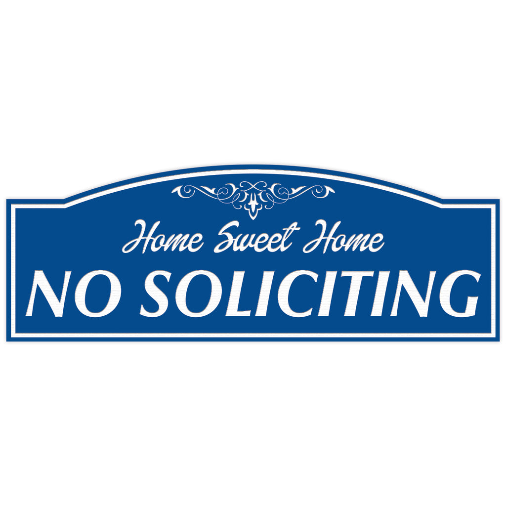"All Quality ""HOME SWEET HOME NO SOLICITING"" Engraved Sign, 3"" x 8"""