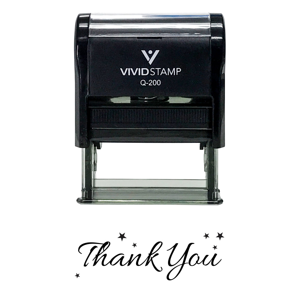 Black THANK YOU w/ Stars Self Inking Rubber Stamp
