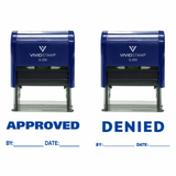 Blue APPROVED / DENIED By Date Self Inking Rubber Stamp