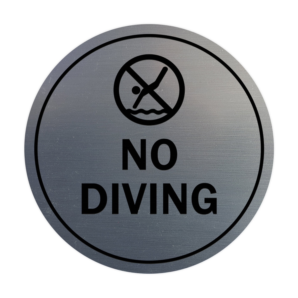 Signs ByLITA Circle No Diving Sign with Adhesive Tape, Mounts On Any Surface, Weather Resistant, Indoor/Outdoor Use
