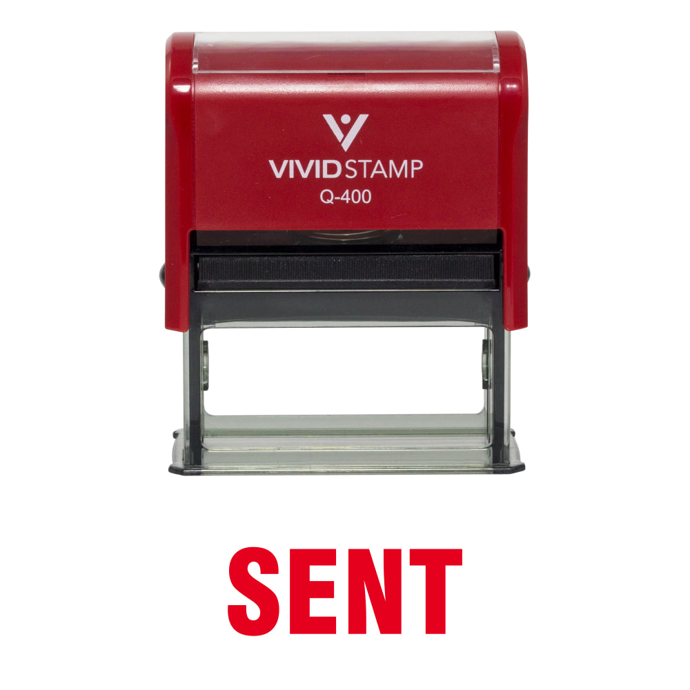 Red SENT Self Inking Rubber Stamp