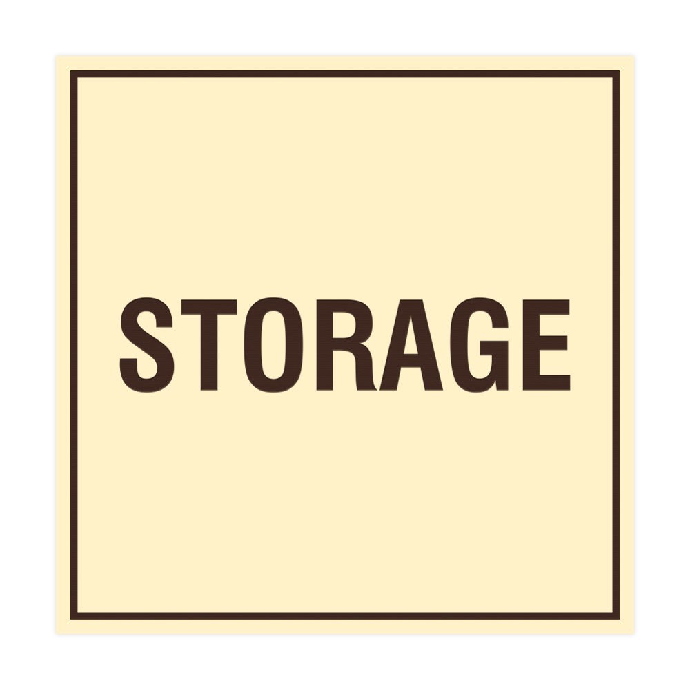 Ivory / Dark Brown Signs ByLITA Square Storage Sign