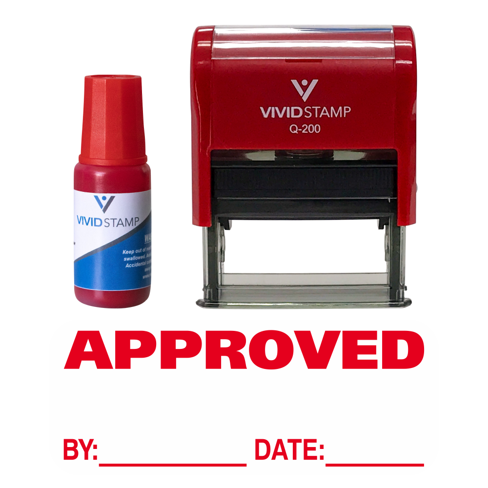 Approved By Date Self Inking Rubber Stamp Combo with Refill