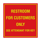 Square Restroom For Customers Sign with Adhesive Tape, Mounts On Any Surface, Weather Resistant