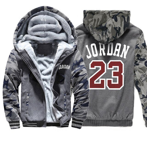 2019 New Streetwear Vintage Fashion Coat Thick Hoody Jordan 23 Printed Winter Sweatshirts Raglan Mens Camouflage Sportswear - T.CH.-The Chicago Hustle-