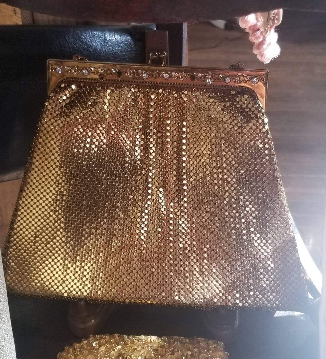 Whiting and Davis Goldtone Chainmail Purse