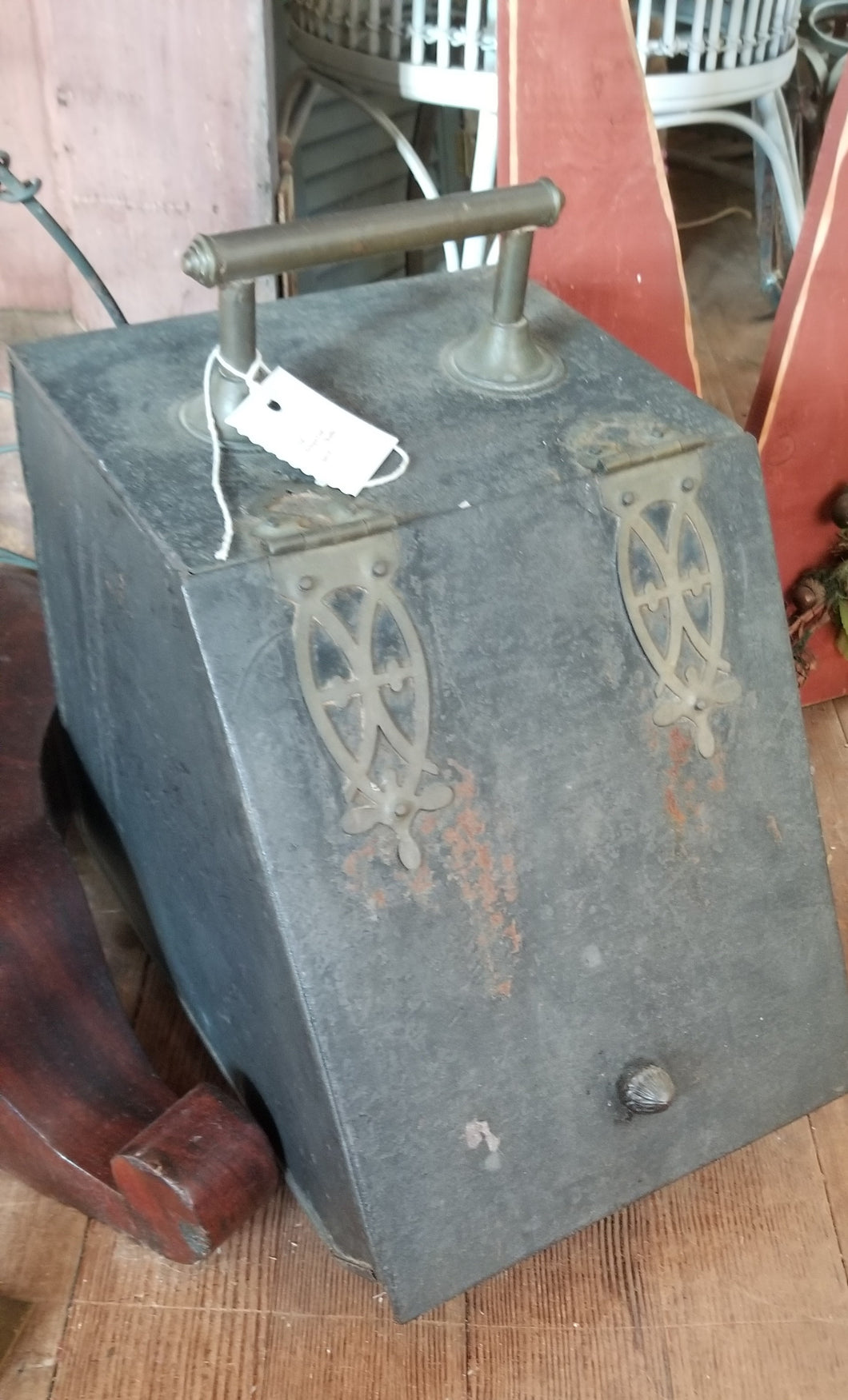 Antique Metal Skuttle Coal Box