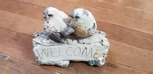 "2 Birds "":Welcome"" on a Branch"