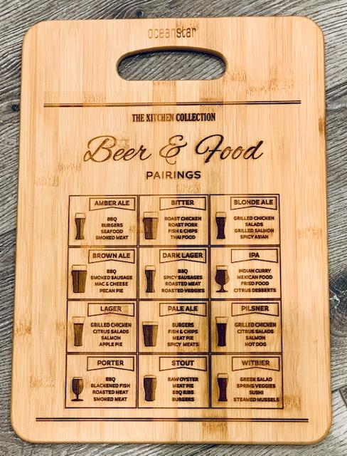 Beer Pairing Large Bamboo Charcuterie Board