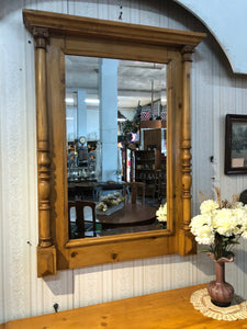 European pine commode/mirror set