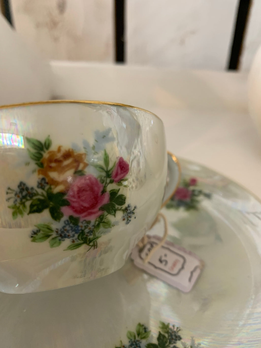 Rose Opalescent Tea Cup & Saucer