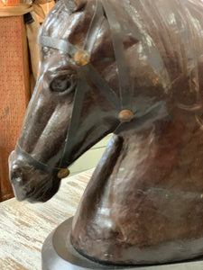 Leather with Glass Eyes Italian Horse Bust