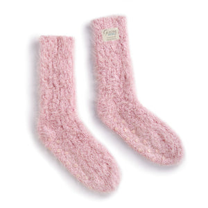 Women's Pink Fuzzy Giving Socks with Grippers