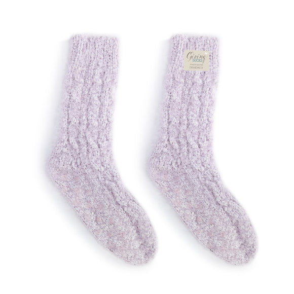 Women's Light Purple Fuzzy Giving Socks with Grippers