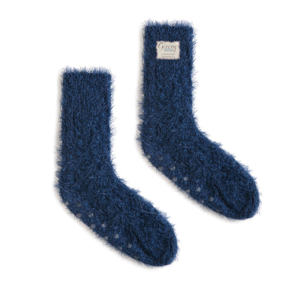 Women's Navy Fuzzy Giving Socks with Grippers