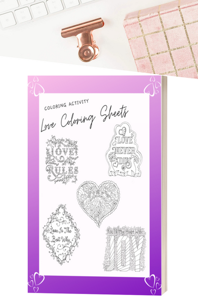 "No matter what appointment you're waiting for, you can bring these color sheets with you, each one inspired by ""love."""