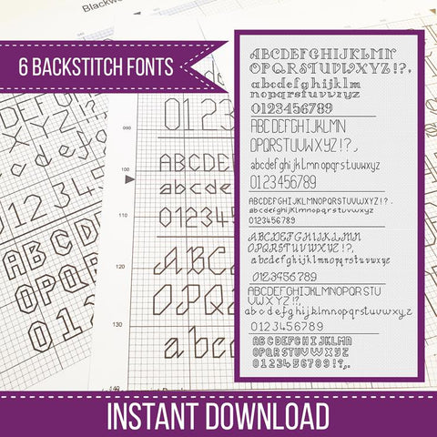 Blackwork Pattern - Backstitch Fonts