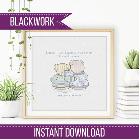 Blackwork Friendship Bears