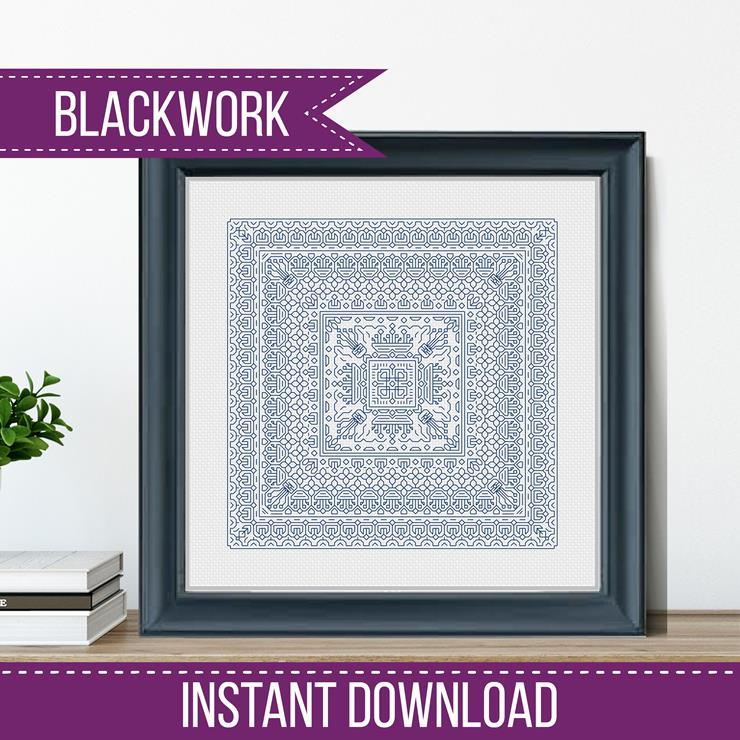 Blackwork Pattern -Study In Wedgewood