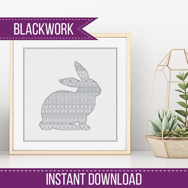 Blackwork Pattern - Blackwork Bunny Rabbit