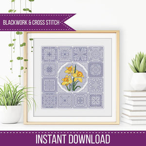 Blackwork Pattern - Dutch Tiles - Daffodils