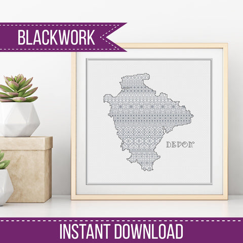 Blackwork Pattern - Devon Blackwork