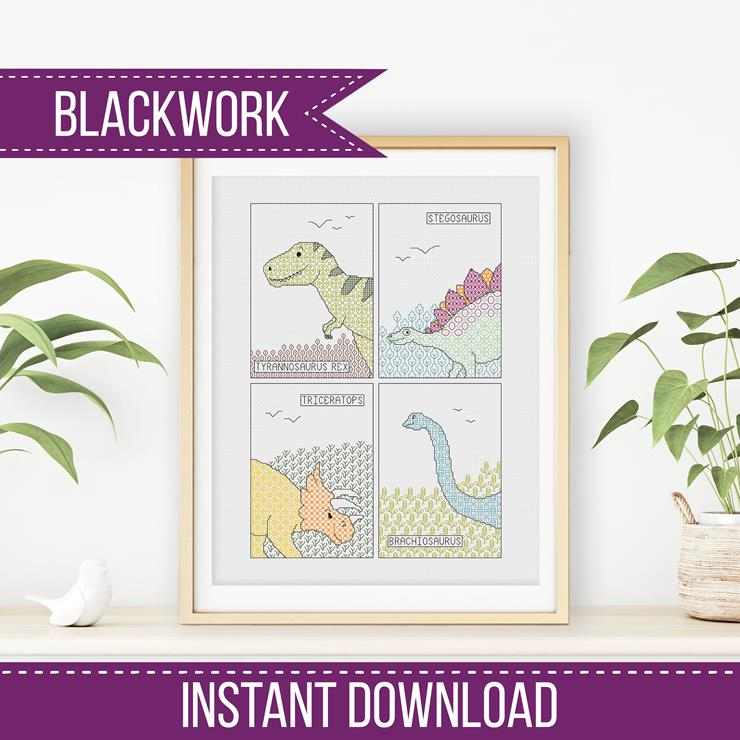 Blackwork Pattern - Dinosaur Blackwork Pattern