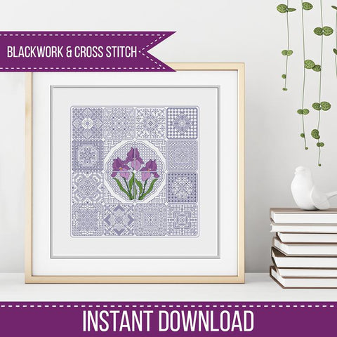 Blackwork Pattern - Dutch Tiles - Iris