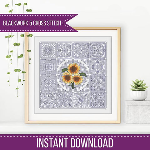 Blackwork Pattern - Dutch Tiles - Sunflower