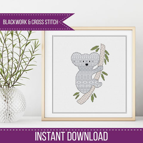 Blackwork Pattern - Koala Blackwork