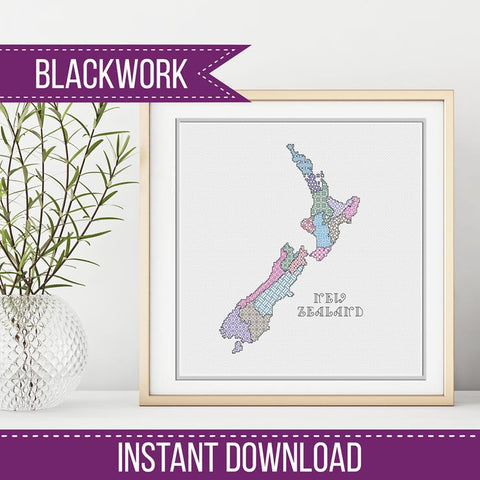 Blackwork Pattern - New Zealand Blackwork