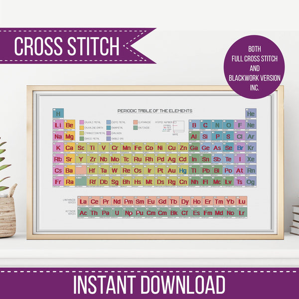 The Periodic Table Blackwork & Cross Stitch Chart