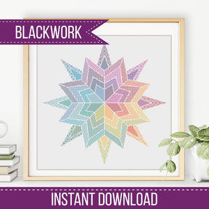 Blackwork Rainbow Star